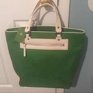 NEW kate spade Kelli M St. Leather & Canvas Tote